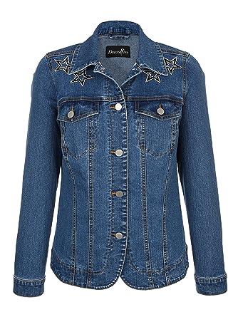 Dress in Damen Jeansjacke mit Sternchenappliaktion Pflegeleicht by   Amazon.de  Bekleidung 483b0f282c