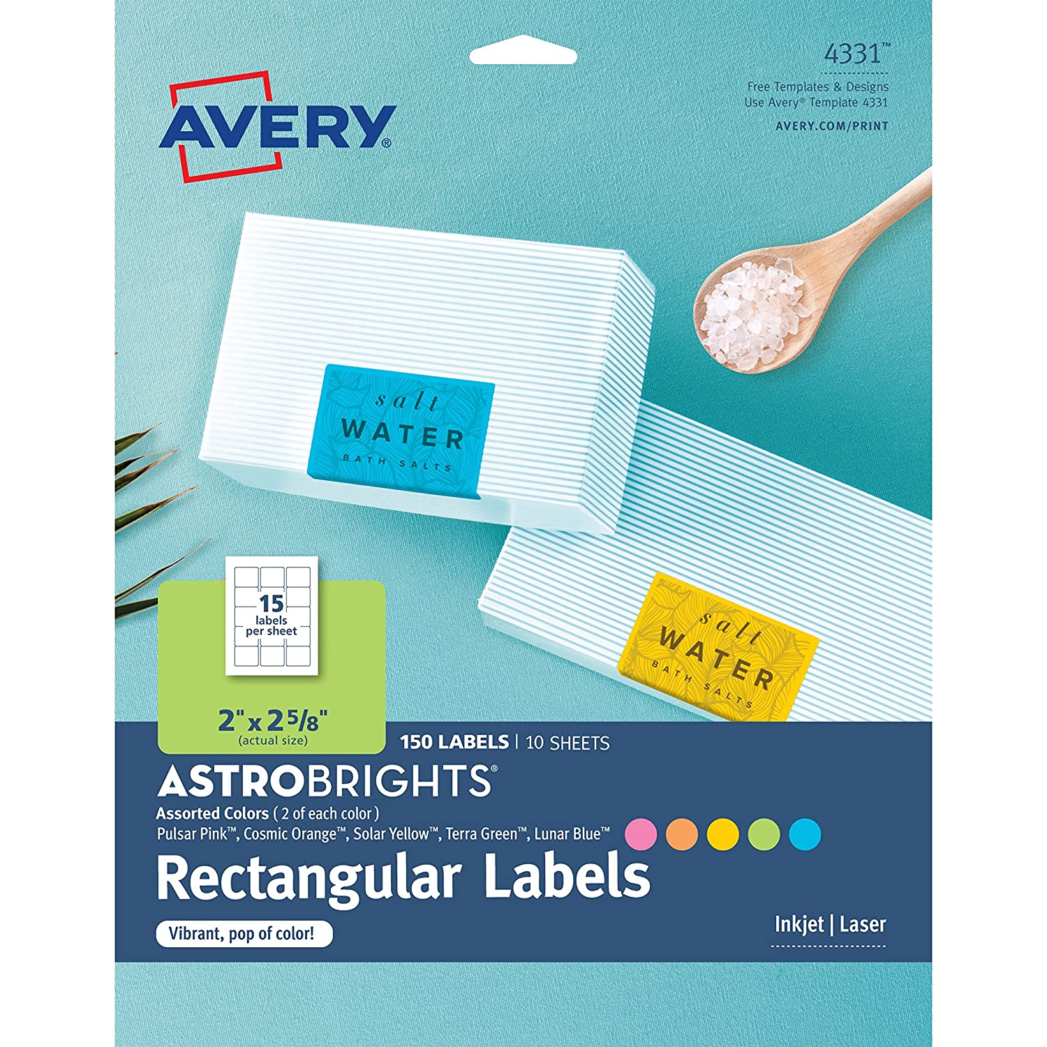 Amazon.com : Avery Astrobrights Color Easy Peel Rectangle Labels, 2 ...