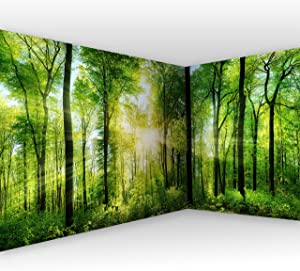 "artgeist Wall Mural Forest 212.2"" x 98.4"" XXL Peel and Stick Self-Adhesive Corner Wallpaper Removable Large Sticker Foil Angle Wallpaper Wall Decor Print Nature Green Tree Panorama c-A-0058-a-b"