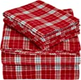 Pinzon Plaid Flannel Bed Sheet Set - Queen, Bordeaux Plaid