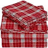 Pinzon 160 Gram Plaid Flannel Sheet Set - Queen, Bordeaux Plaid