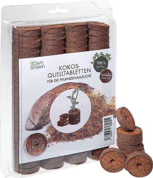OwnGrown Pastillas de Coco nutrientes – 100 Unidades, Tierra de ...