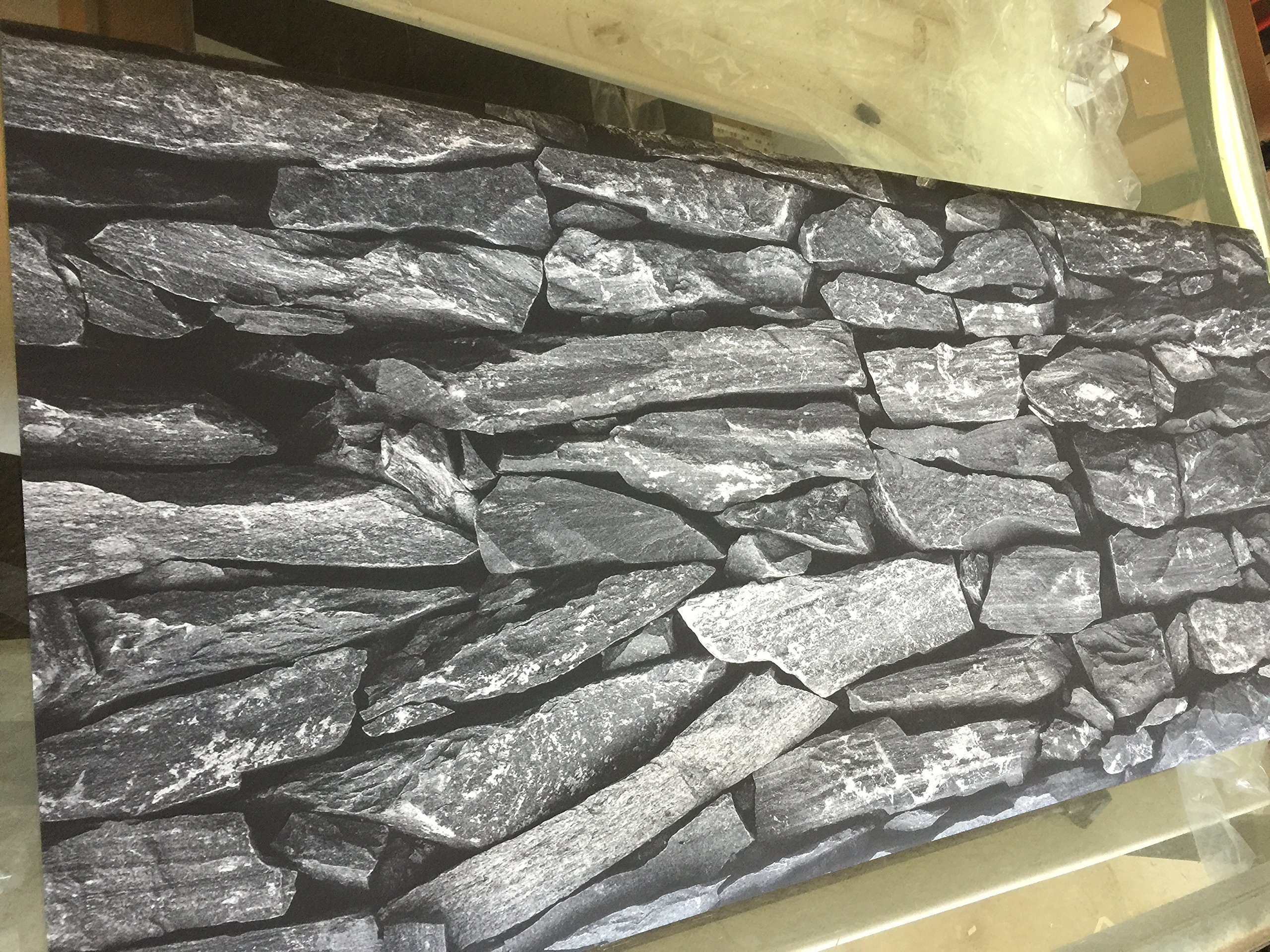 Dark Silver Flat Rock/HD Stone Aquarium Background 21'' x 72''/Rocky Fish Tank Background by BannersNStands