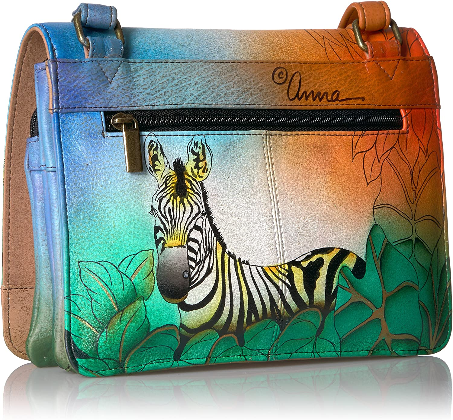 ANUSCHKA womens Anna By Anuschka, Handpainted Leather Medium Saddle Crossbody-zebra Safari Zebra Safari