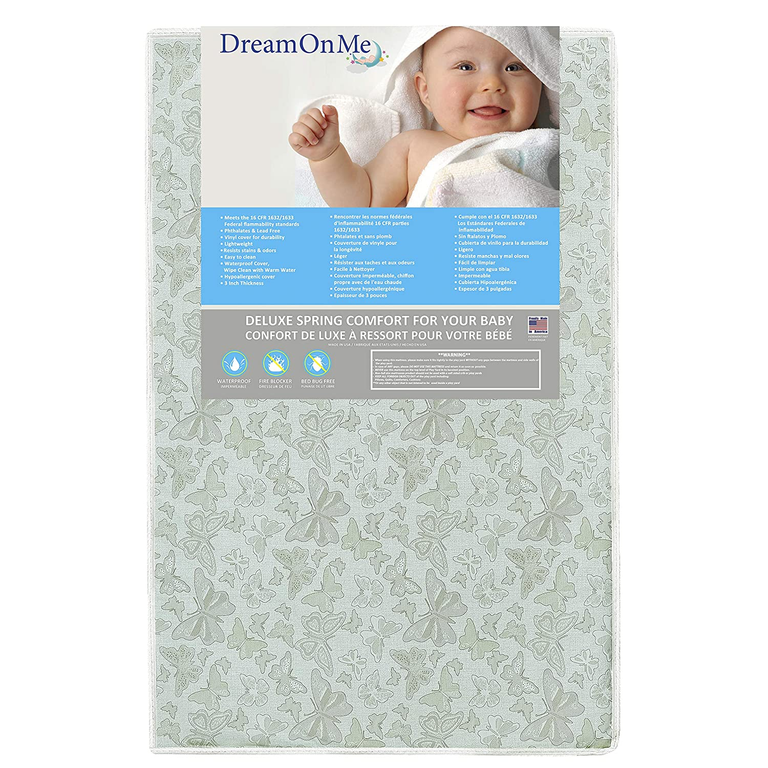 Dream On Me Breathable 2-In-1 Foam Core Crib and Toddler Bed Mattress 5 Inch