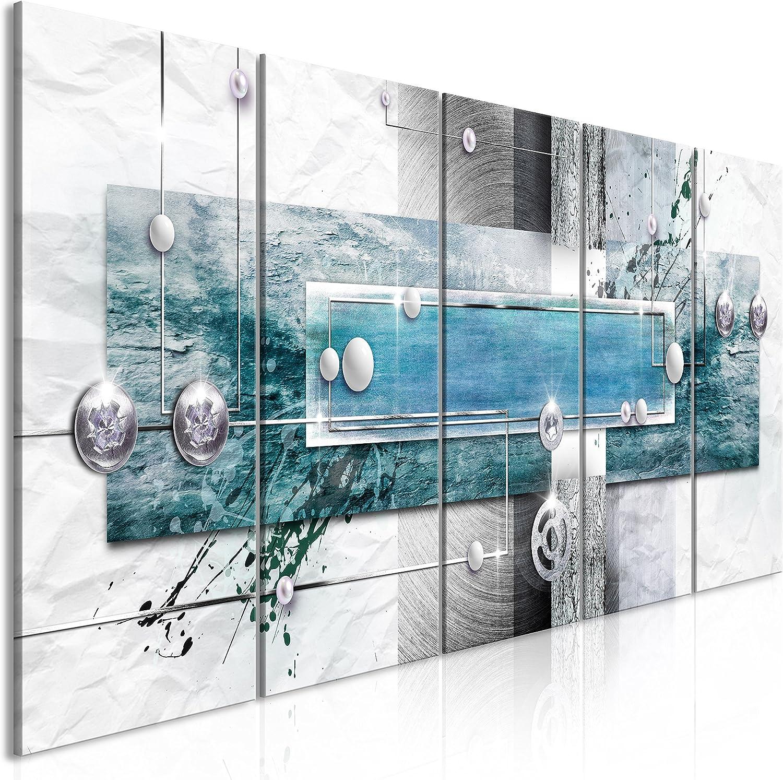 murando - Cuadro en Lienzo Abstracto 200x80 cm Impresión de 5 Piezas Material Tejido no Tejido Impresión Artística Imagen Gráfica Decoracion de Pared Gris Beige Blanco Azul Turquesa a-A-0343-b-p