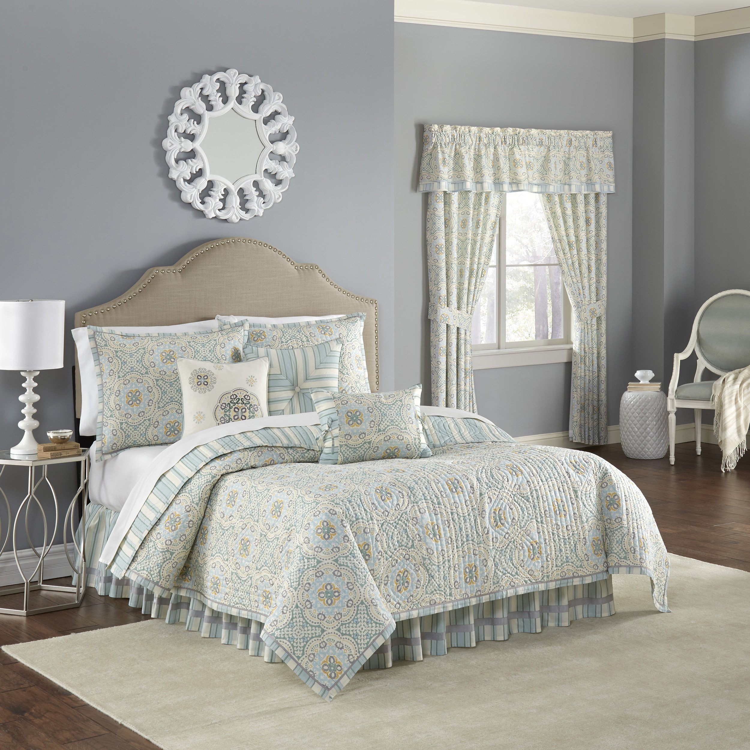 Waverly Astrid Quilt Collection, Full/Queen, Mineral