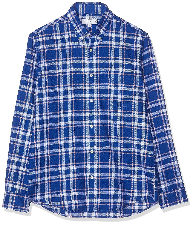 MERAKI Camisa de Cuadros Regular Fit Manga Larga de Algodón Hombre