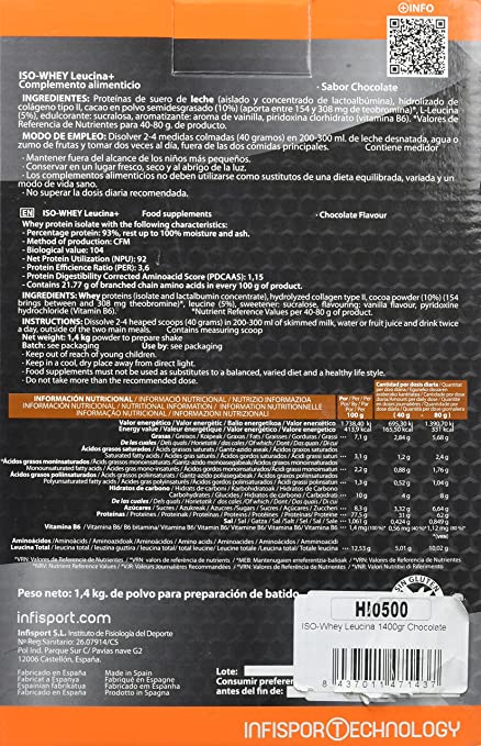 Infisport Iso Whey - Leucina Chocolate, 1400 gram: Amazon.es ...