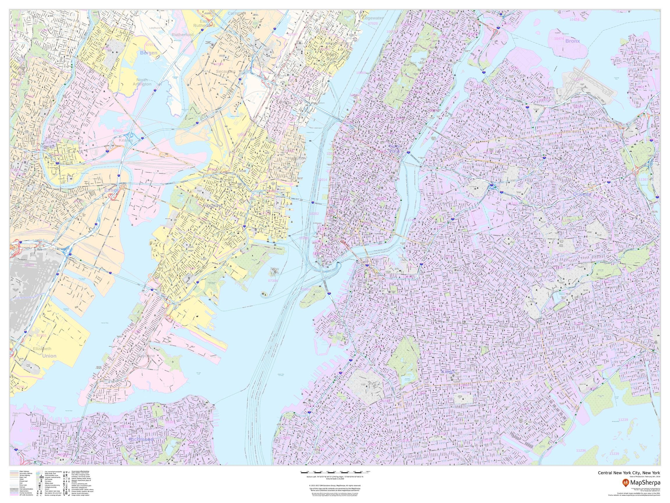 Central New York City, New York - Landscape - 48 x 36 inches - Laminated - Wall Map