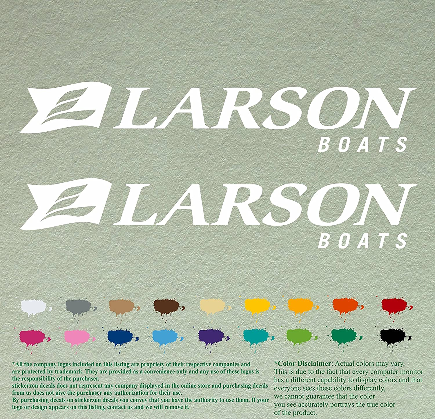 Pair of Larson Boats Decals Vinyl Stickers Boat Outboard Motor Lot of 2 12, Black 070