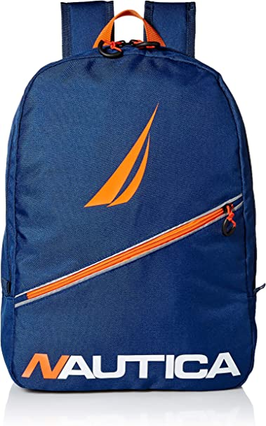 Nautica Little Diagonal Front Zip Full Size Backpack for Kids,  Navy, One Size