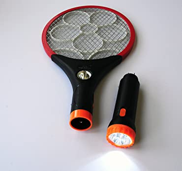 Electric LED Bug Fly Mosquito Zapper Swatter Killer with Built-in Rechargeable Batteries - 2400 Volts