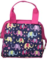 Fit & Fresh Kids' Riley Insulated Lunch Bag with Zipper, Cute School Lunch Box for Girls, Navy Elephant