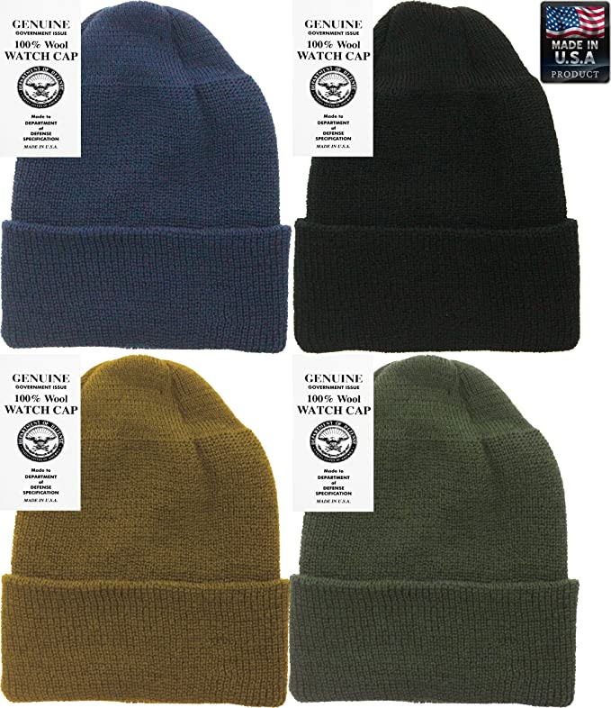 Amazon.com  Military Genuine GI Winter USN Warm Wool Hat Watch Cap (Black)   Clothing c27149082e5