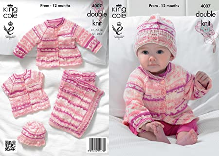 ff50e2b98a16 King Cole 4007 Knitting Pattern Baby Blanket Jacket Cardigan and Hat ...