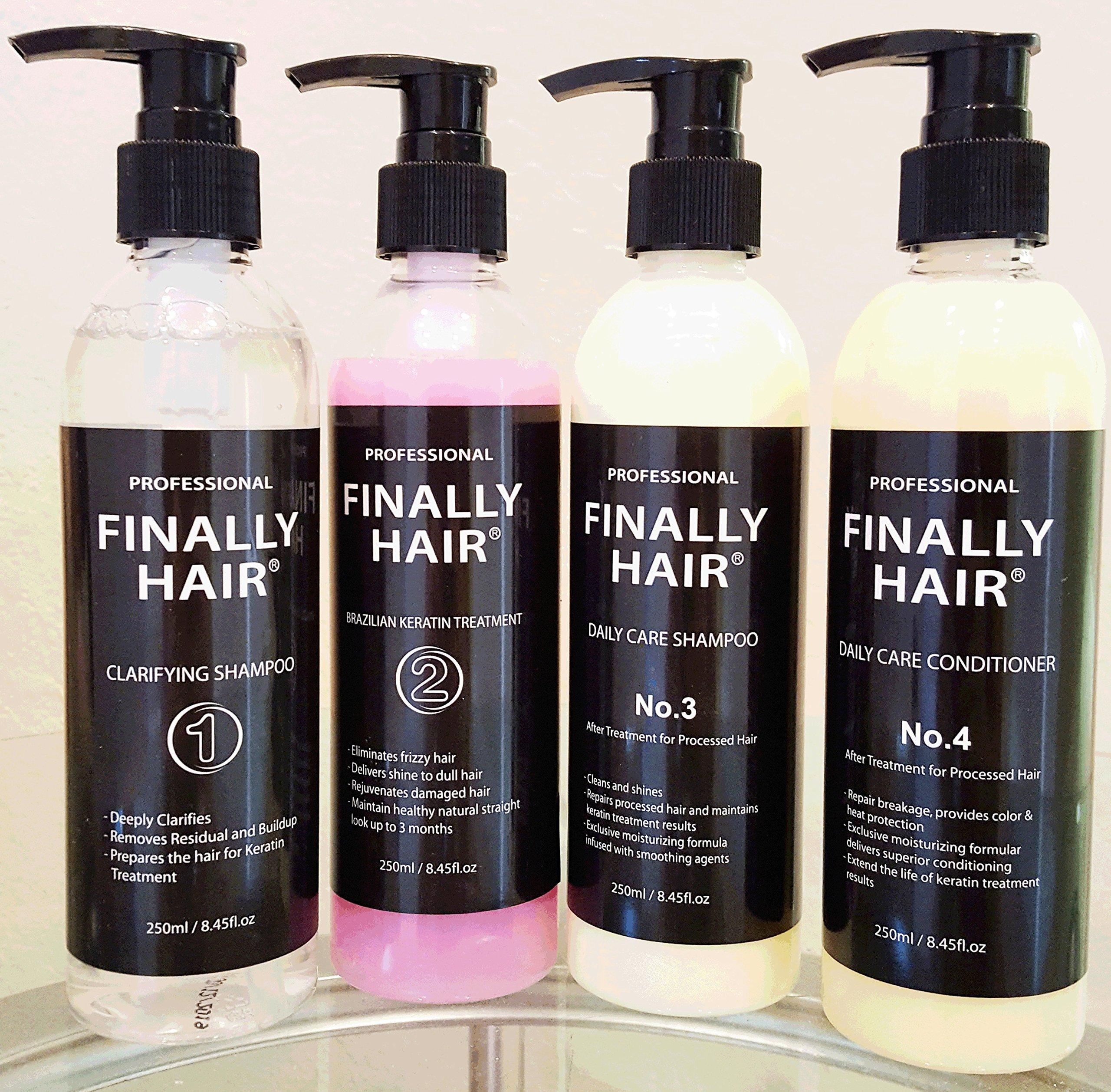 Finally Hair Deluxe Original Version One Keratin Straightening Smoothing Treatment & Clarifying Shampoo Kit 1000ml Professional Kit (Grape Milder Smell)