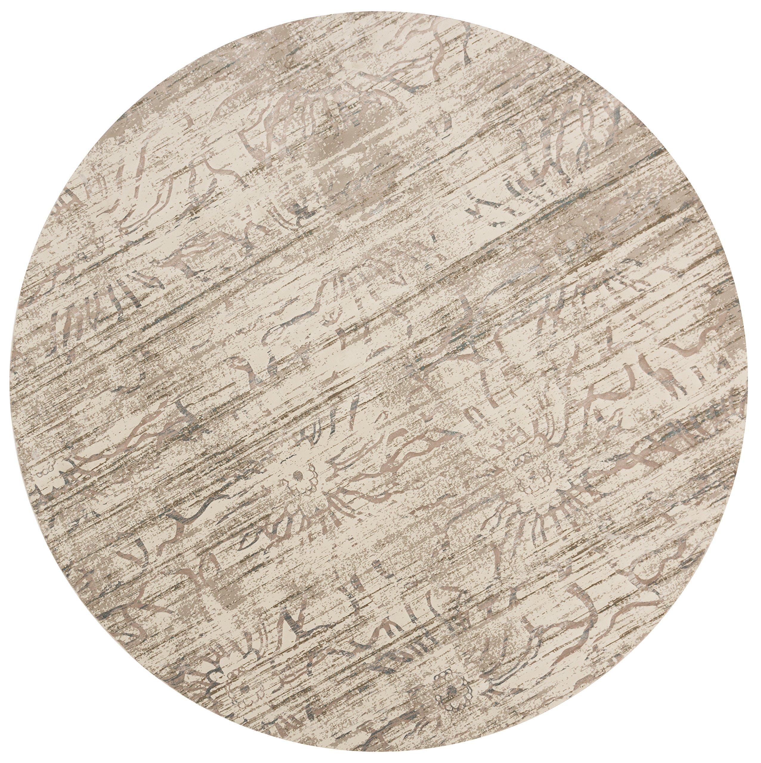Loloi Rugs Kingston Collection KGSTKT-03NE00930R Round Area Rug, 9' 3'' x 9' 3'', Neutral
