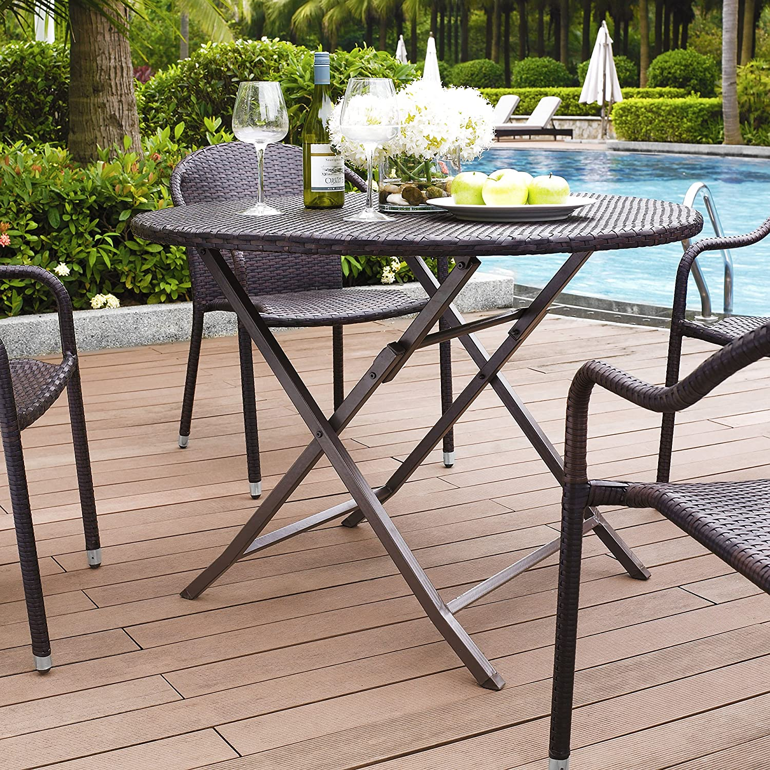 Amazon Crosley Palm Harbor Outdoor Wicker Folding Table