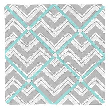 Sweet Jojo Designs Turquoise and Gray Chevron Zig Zag Fabric Memory/Memo  Photo Bulletin Board