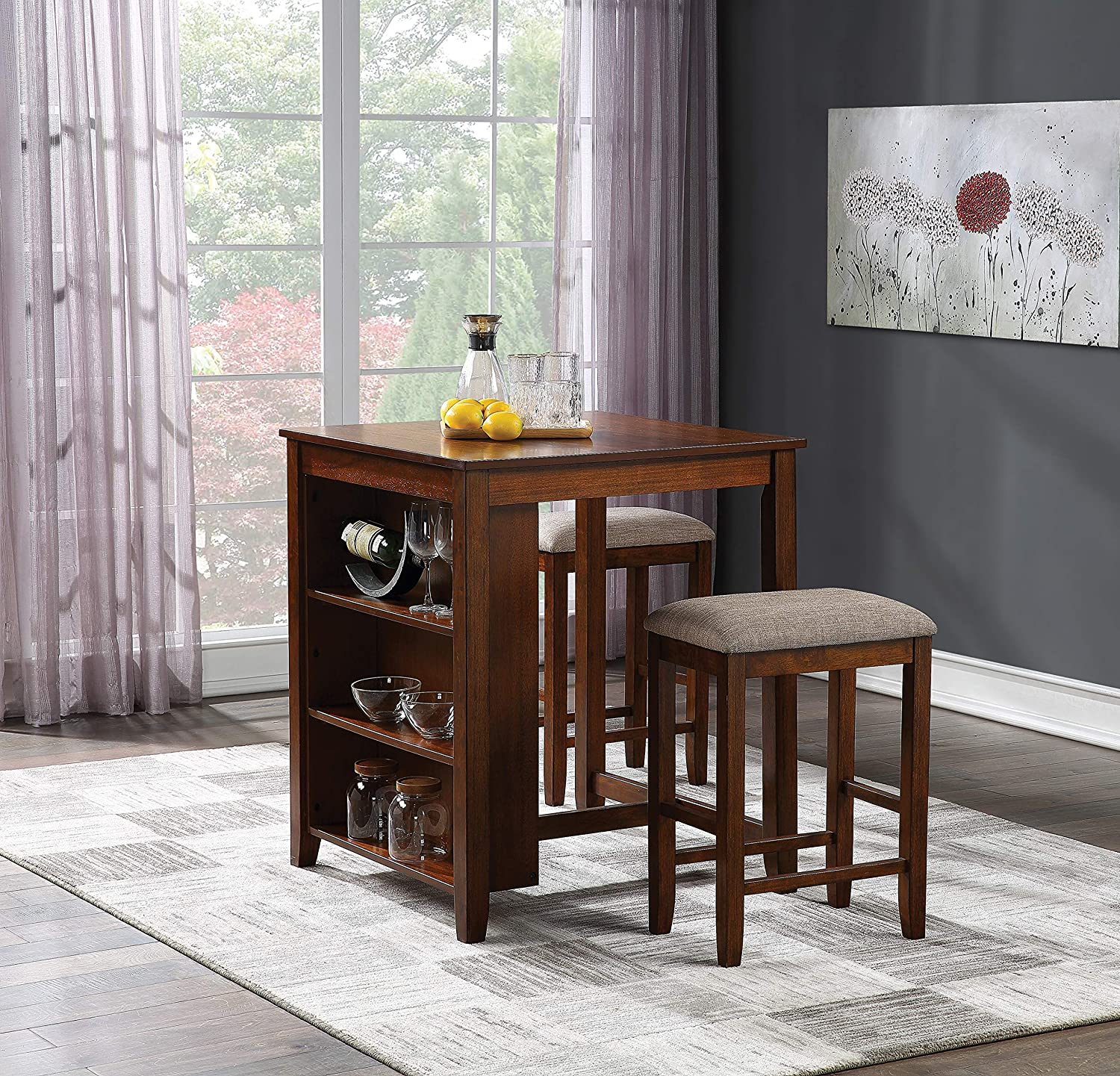 OSP Home Furnishings Regal 3-Piece Bar Height Dining Set, Walnut