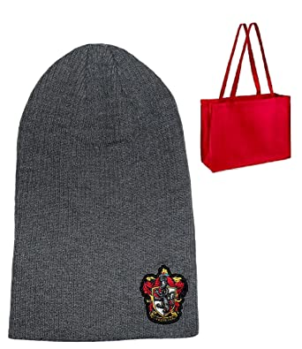 f35c99d94d3 Amazon.com  Harry Potter Gryffindor Crest Slouch Beanie - Adult-Unisex    Tote - 2 Piece Gift Set  Clothing