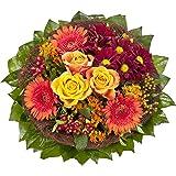 """Dominik Blumen und Pflanzen, Blumenstrauß""""Füllhorn"""" mit orangen Rosen und Germini"""