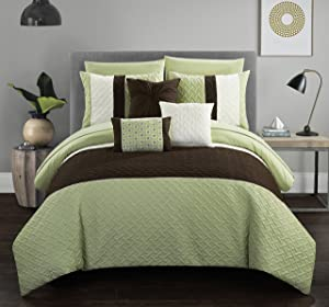 Chic Home Osnat 8 Piece Comforter Set Color Block Quilted Embroidered Design Bag Bedding – Sheets Decorative Pillows Sham Included, Twin, Green