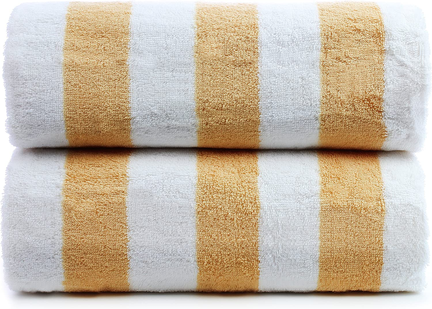 Yellow, 30x60 Inch Premium Quality 100/% Turkish Cotton Cabana Thick Stripe 2-Pack Pool Beach Towels Eco-Friendly