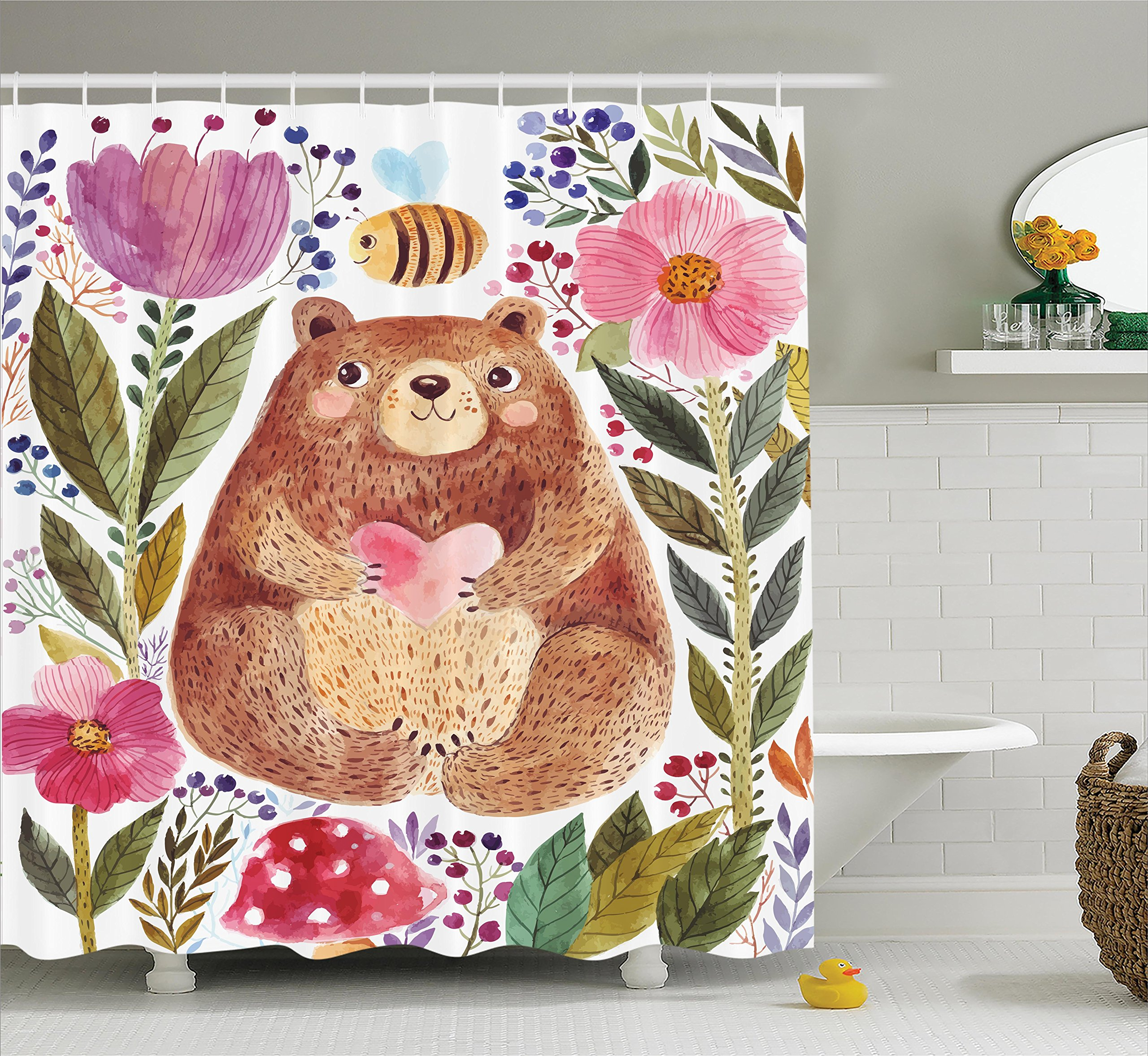 Ambesonne Watercolor Flower Decor Shower Curtain Set, Modern Illustration of Cute Bear with Flowers and Bee Animal Spirit Artsy Nature, Bathroom Accessories, 84 inches Extralong, Multi