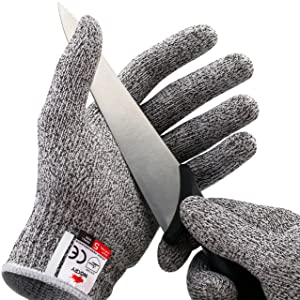 NoCry Cut Resistant Gloves - Ambidextrous, Food Grade, High Performance Level 5 Protection. Size Medium, Free Ebook Included!