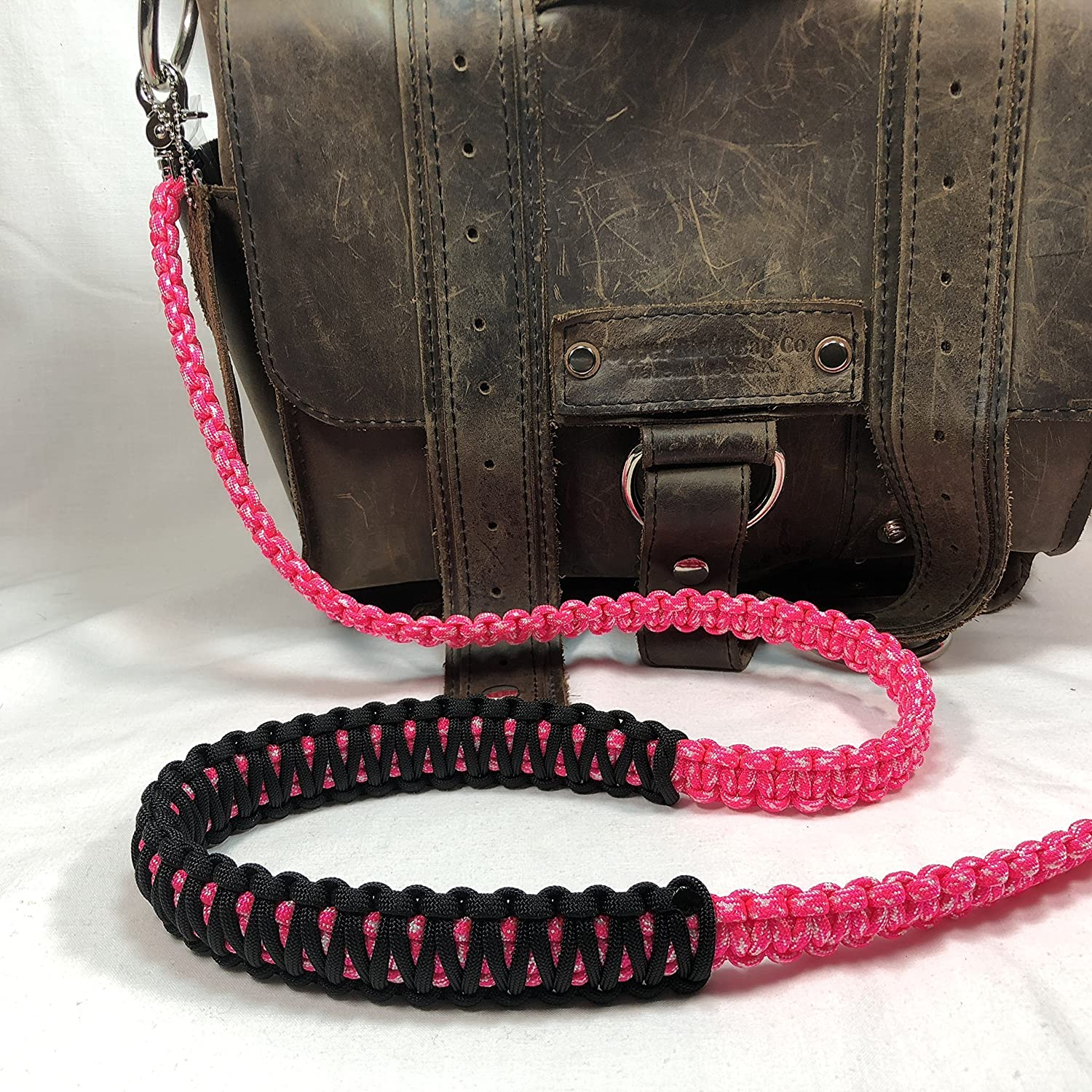 Neon Pink and White Camo Paracord Cross Shoulder Strap, Handbag, Satchel Strap, Duffel Bag