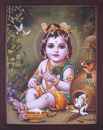 Handicraft Store Lord Child Bal Krishna Eating Butter and Enjoying with  Peacock and Parrots, Elegant Posture with Frame, Must for Office/Home