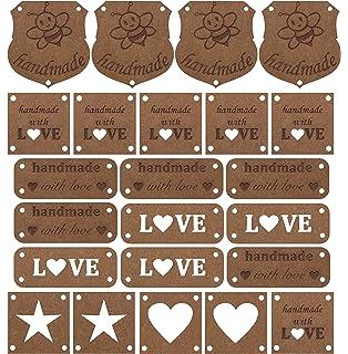 KESOTO 20pcs PU-Leder Label Ann/ähen Etiketten Lederetikett Tag mit L/öcher Hand Made Kleidung Zubeh/ör A1