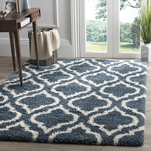 Safavieh Hudson Shag Collection SGH284L Slate Blue and Ivory Moroccan Geometric Area Rug 4 x 6