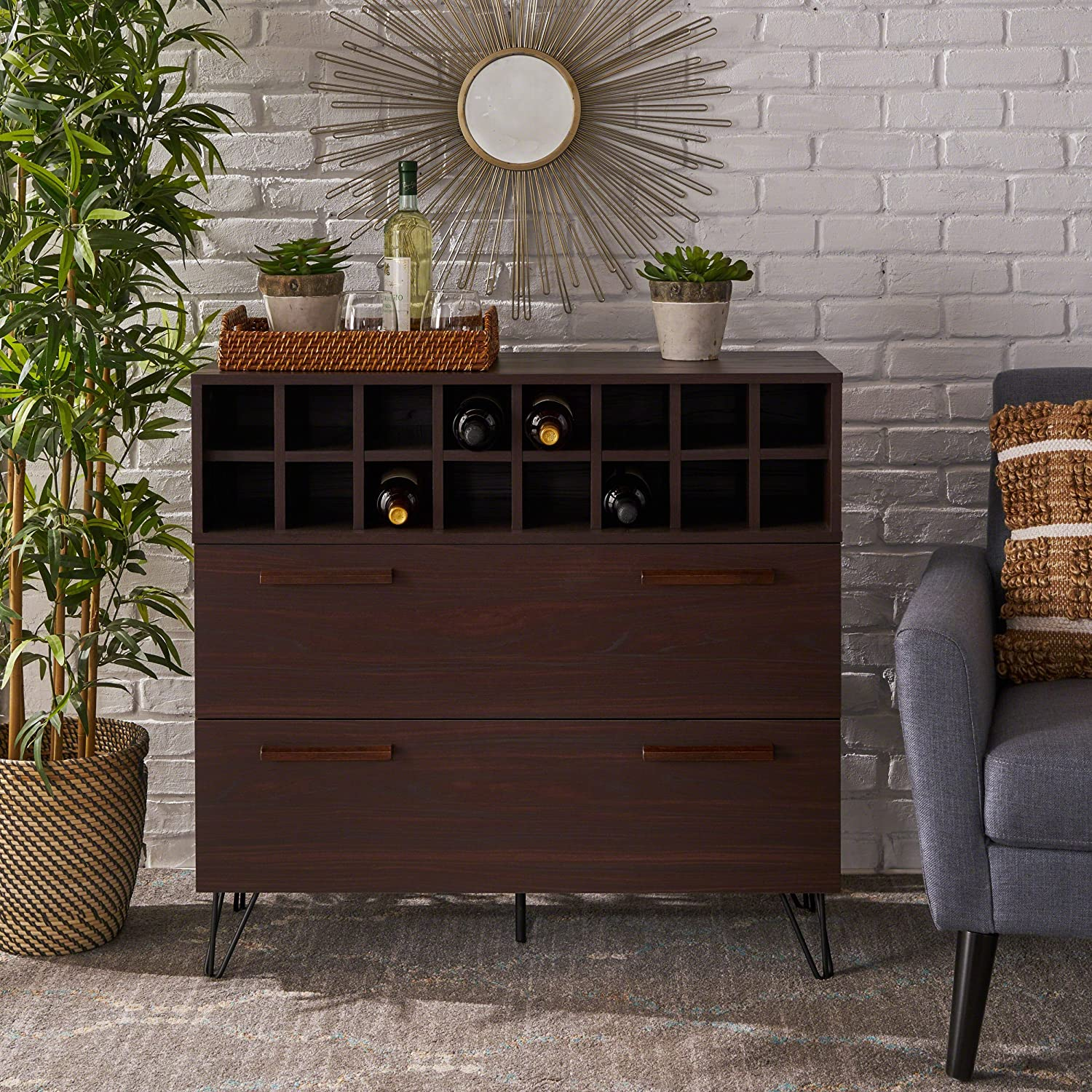 Annabelle Mid Century Wenge Finished Faux Wood Wine and Bar Cabinet