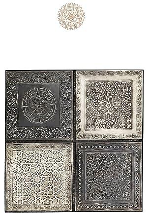 4er Set Orientalisches Wandbild Wanddeko Sahra-4-30cm aus Metall    Orientalische Vintage Wanddekoration Für Wohnzimmer, Schlafzimmer oder  Küche   ...
