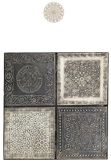 4er Set Orientalisches Wandbild Wanddeko Sahra 4  30cm Aus Metall |  Orientalische Vintage Wanddekoration