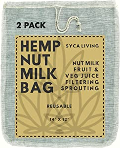 "2-PACK Hemp Nut Milk Bag, (Large Size 14""x12"") Nut Milk Bag, Almond Milk Nut Bag, Cheesecloth, Strainer bag for Celery Juice, Cold Brew Coffee,Yogurt, Hemp Sprouting Bag."