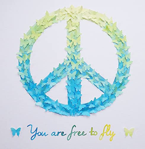 Amazon 3d Butterfly Peace Sign Art Hand Painted In Watercolor