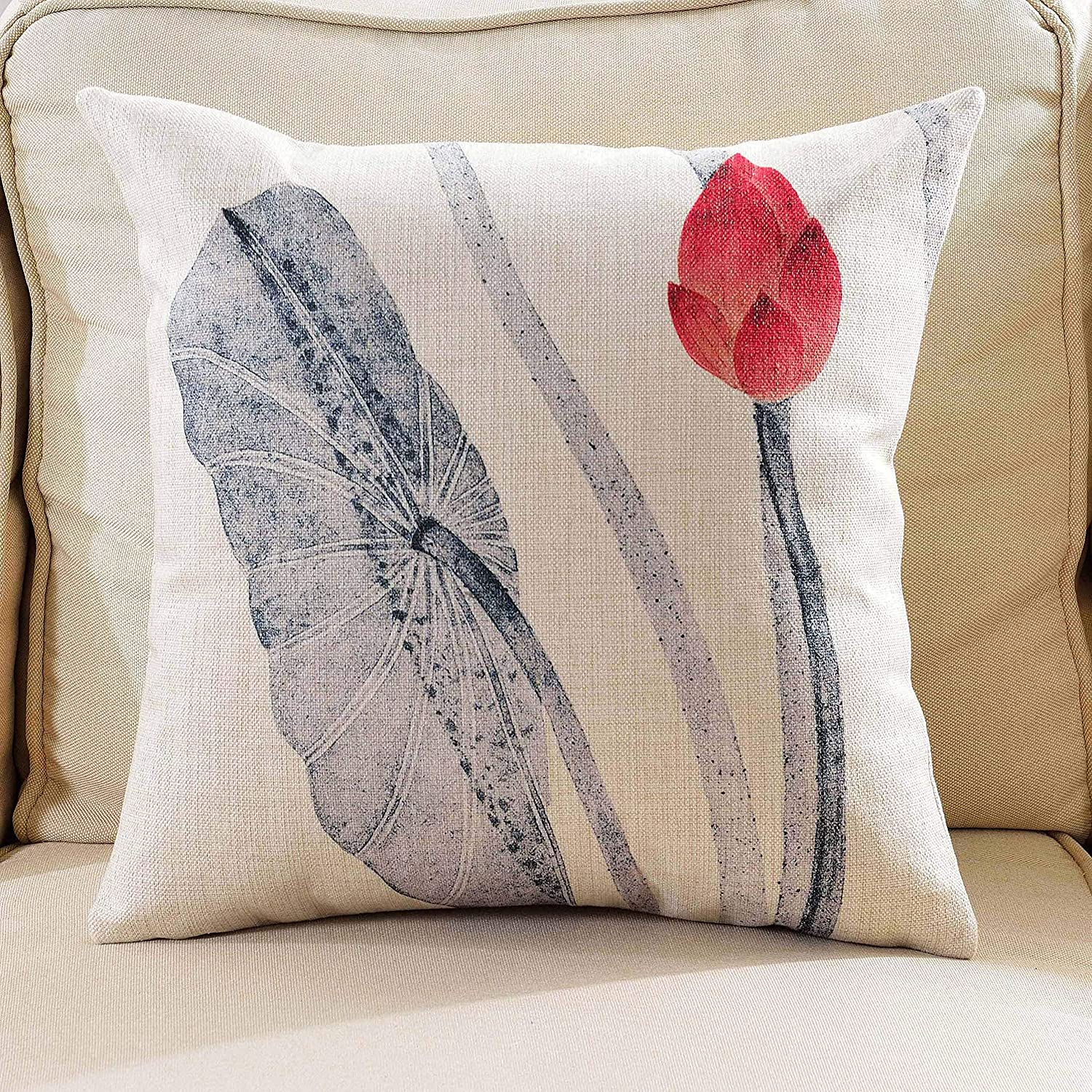 Lotus Bud 12X20 OSVINO Chinese Ink Wash Painting Style Lotus Series Throw Pillow Case Sham Cushion Cover for Home Sofa Bed Office D/écor