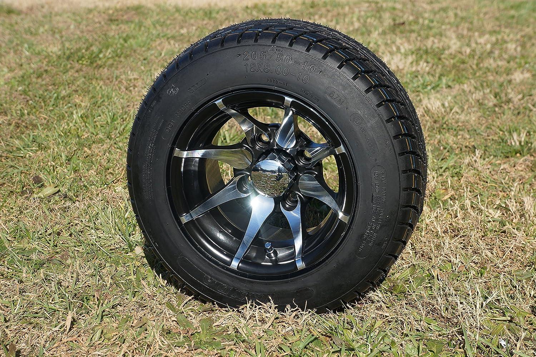 """10"""" Golf Cart """"Kraken"""" Wheels und Tires, Machined/Black, Satz von 4"""