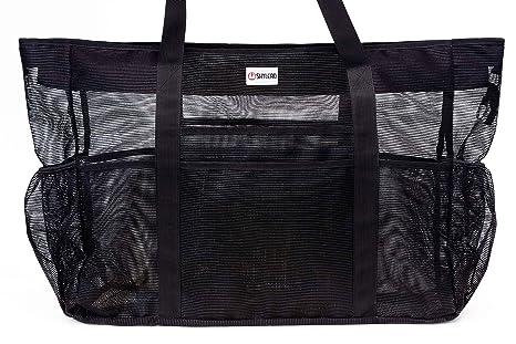 8f137c731 SHYLERO Mesh Beach Bag w 100% Waterproof Phone Case, Padded Ribbon Handles, Top  Zip, Expendable Side Pockets. Black Shoulder Beach Tote has Built-in Key ...