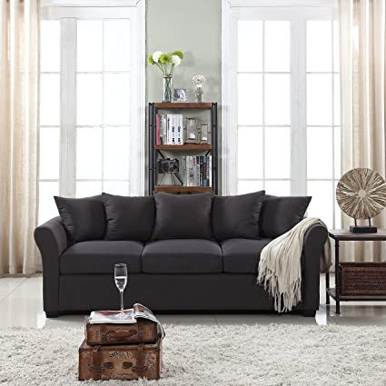 DIVANO ROMA FURNITURE Classic and Traditional Ultra Comfortable Linen  Fabric Sofa - Living Room Fabric Couch (Dark Grey)