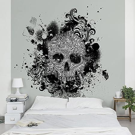 Non Woven Wallpaper Skull Tattoo Mural Square 192cm X 192cm