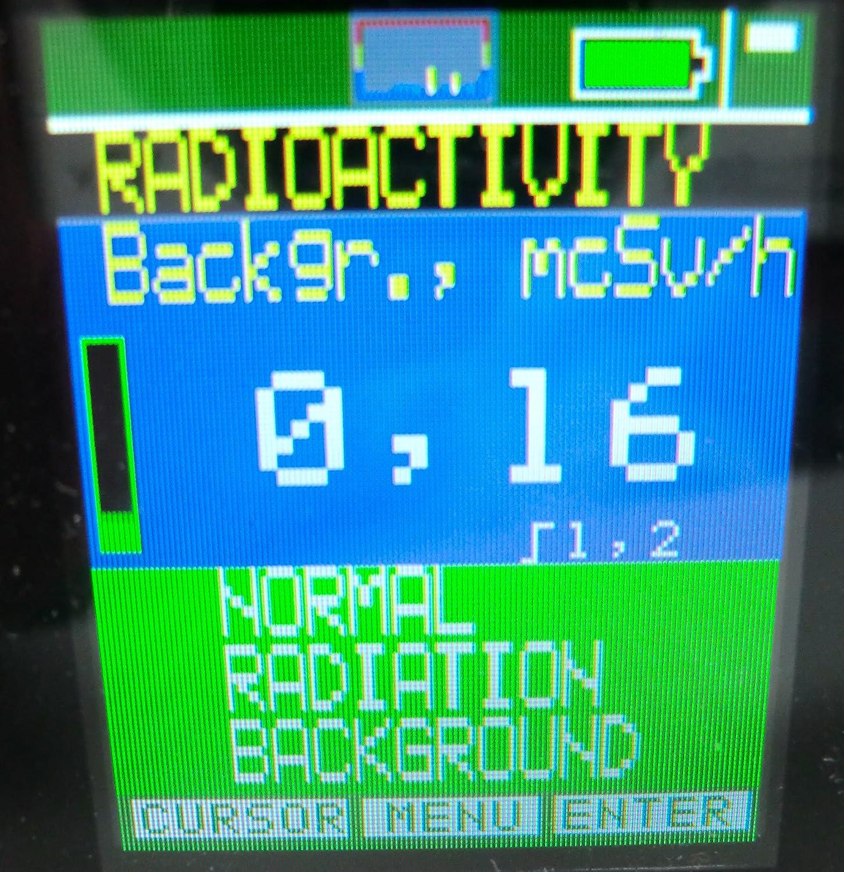 放射線量の表示画面