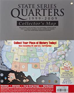 state series quarters 1999 2009 collectors map including the district of columbia puerto
