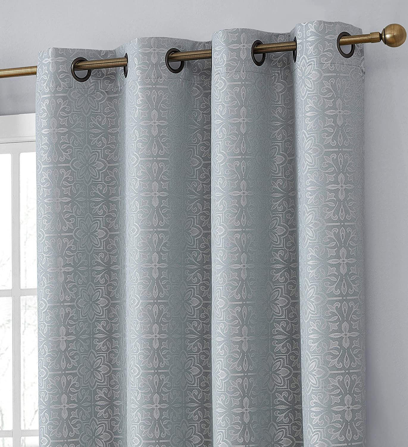 HLC.ME Mia Moroccan Tile 100% Complete Blackout Heavy Thermal Insulated Energy Savings Noise Reduction Grommet Curtain Long Drapery Panels for Bedroom & Office, 2 Panels (52 W x 84 L, Seafoam Green)