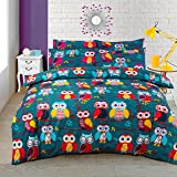 Multi Owl Duvet / Quilt Cover Bedding Set Owl Bedding Multi Mid Night Owl (Double)