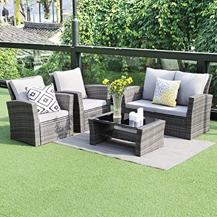 Wisteria Lane 5 Piece Outdoor Patio Furniture Sets, Wicker Ratten Sectional  Sofa With Seat Cushions